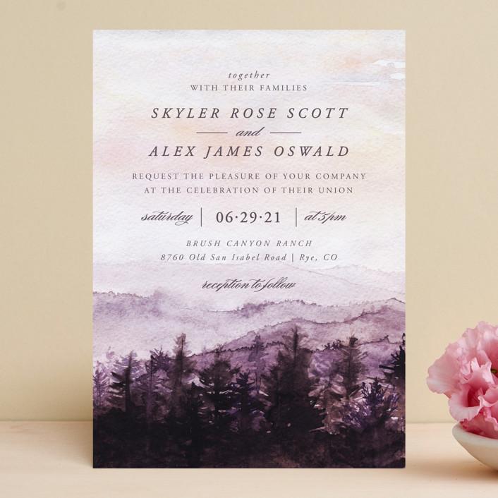 """mountain wedding"" - Destination Wedding Invitations in Sunrise by Anastasia Makarova."