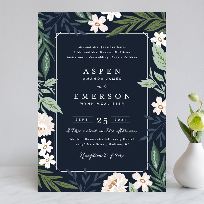 """Floral Edged Frame"" - Wedding Invitations in Royal by Alethea and Ruth."