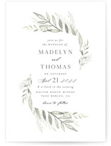 This is a white wedding invitation by Carolyn Nicks called Sweeping with standard printing on signature in standard.