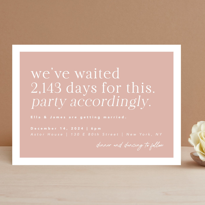 """Party Accordingly"" - Funny Wedding Invitations in Blush by Caitlin Considine."