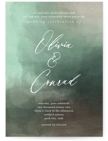 This is a portrait painterly, green Wedding Invitations by Eric Clegg called Meadow with Standard printing on Signature in Classic Flat Card format. This sophisticated wedding announcement features a richly textured painted background creating a dramatic look.