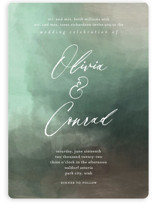 This is a green wedding invitation by Eric Clegg called Meadow with standard printing on signature in standard.