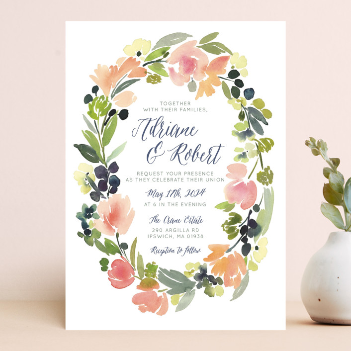 watercolor wreath wedding invitations by yao cheng | minted, Wedding invitations