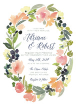 Watercolor Wreath Wedding Invitations By Yao Cheng Design