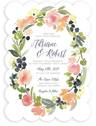 Watercolor wedding invitations minted watercolor wreath wedding invitations by yao cheng junglespirit Image collections