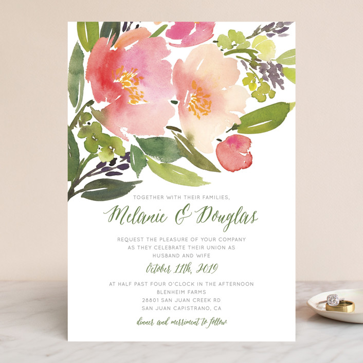 Watercolor floral wedding invitations in olive by yao cheng