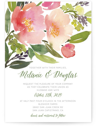 Watercolor Floral Wedding Invitations