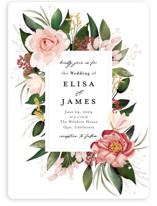 This is a pink wedding invitation by Susan Moyal called Blossom with standard printing on signature in standard.