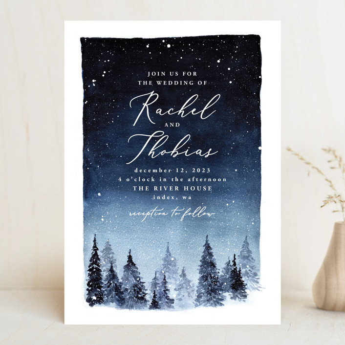 """Let it Snow"" - Rustic Wedding Invitations in Celestial by Anastasia Makarova."