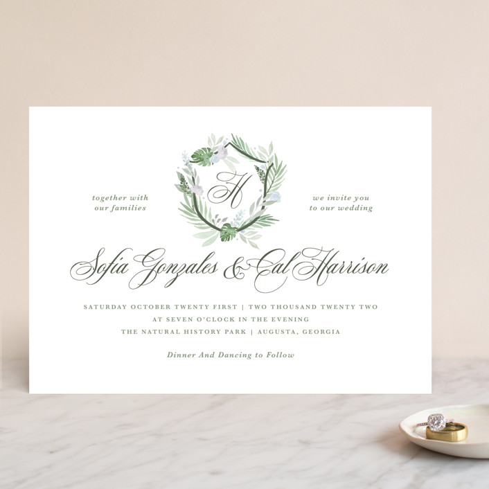 """Botanical Seal"" - Wedding Invitations in Pastel by Kristen Smith."