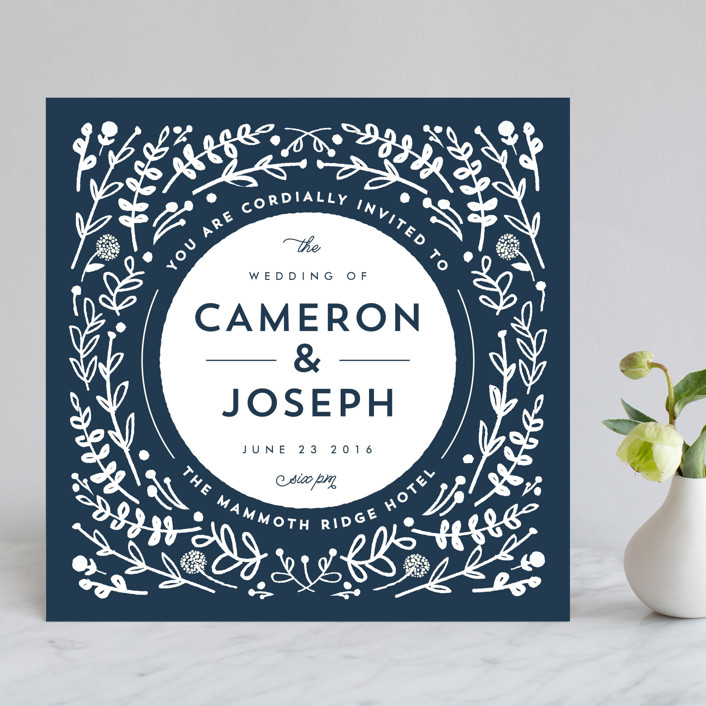 Floral Frame Square Wedding Invitations By Lori Wemple | Minted