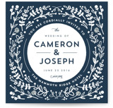 This is a blue wedding invitation by Lori Wemple called Floral Frame Square with standard printing on signature in standard.
