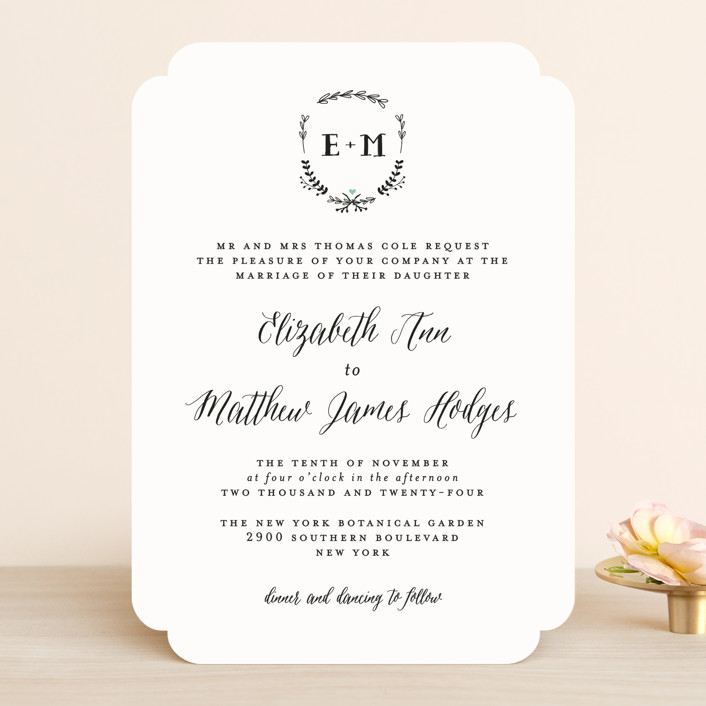 """Always"" - Rustic Wedding Invitations in Mint by Susan Brown."