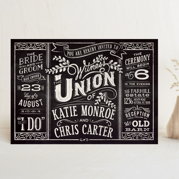 """Slated Forever"" - Bold typographic, Vintage Wedding Invitations in Chalkboard by GeekInk Design."