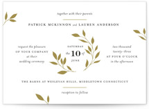 This is a yellow wedding invitation by Kimberly FitzSimons called Emblem with standard printing on signature in standard.