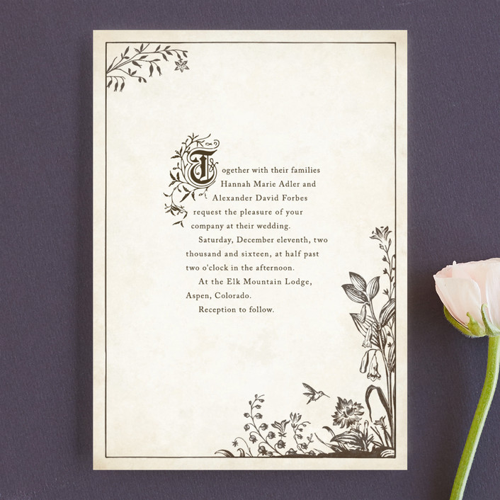 """Story Book"" - Vintage Wedding Invitations in Winter Cream by Jody Wody."