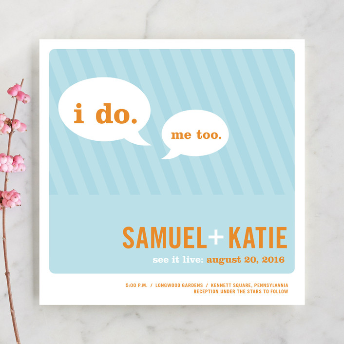 """Smart Conversation"" - Modern, Whimsical & Funny Wedding Invitations in Pool Blue by pottsdesign."
