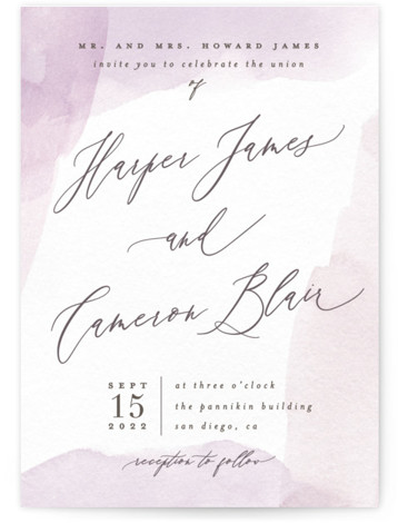 This is a portrait classic and formal, painterly, purple Wedding Invitations by Everett Paper Goods called Sloped with Standard printing on Signature in Classic Flat Card format. A subtly pained frame with sloped calligraphy text