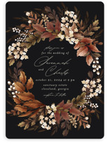 This is a brown wedding invitation by Chris Griffith called Falling into Love with standard printing on signature in standard.