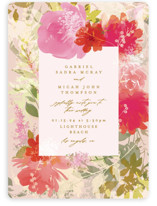 This is a pink wedding invitation by Phrosne Ras called Delightful with standard printing on signature in standard.