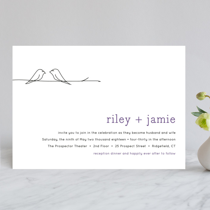 """Birds of a Feather"" - Whimsical & Funny Wedding Invitations in Plum by R studio."