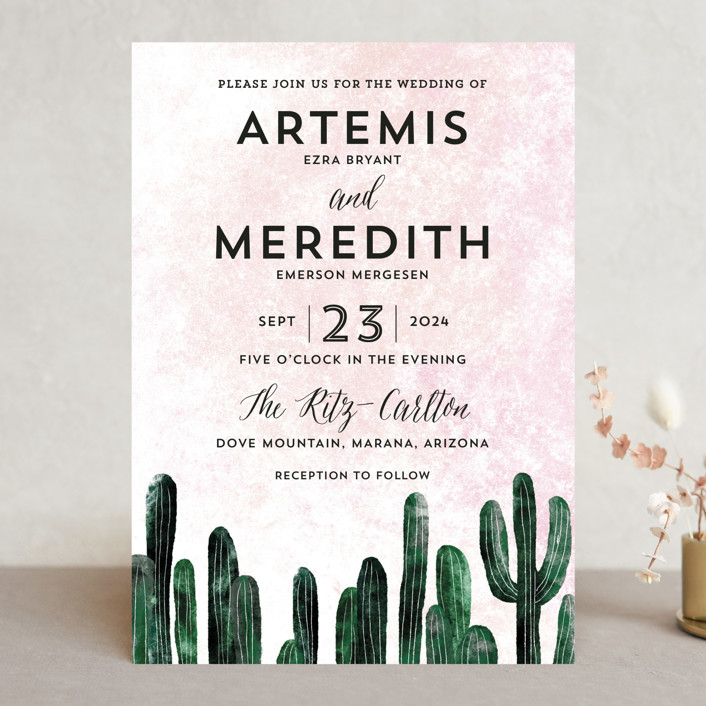 """""""Cacti"""" - Wedding Invitations in Rose Crystal by Cass Loh."""