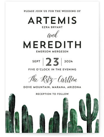 This is a portrait botanical, illustrative, black, green Wedding Invitations by Cass Loh called Cacti with Standard printing on Signature in Classic Flat Card format. This design feature cacti illustration suitable for desert wedding