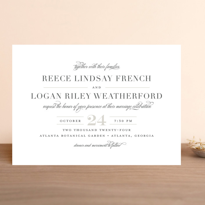 """Classical"" - Wedding Invitations in Taupe by Jessica Williams."
