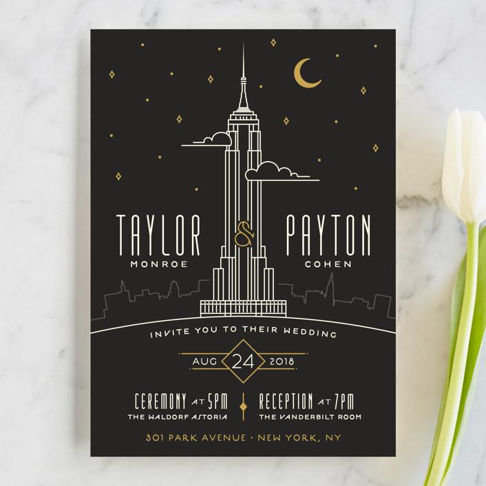"""""""Empire"""" - Destination, Modern Wedding Invitations in Midnight by GeekInk Design."""