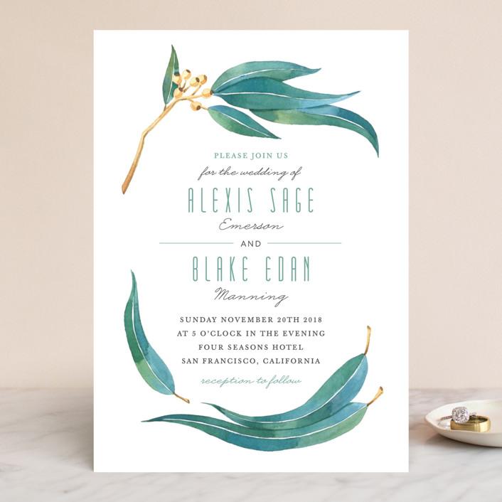 eucalyptus leaves wedding invitations in eucalyptus by four wet feet studio - Minted Wedding Invites