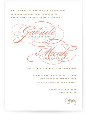 This is a portrait bold and typographic, classic and formal, white, orange Wedding Invitations by Jennifer Postorino called Flourish with Standard printing on Signature in Classic Flat Card format. A simple offset design that lets the lovely couples names be ...