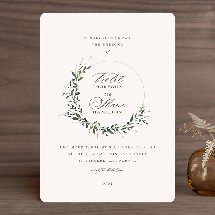 """""""Green Wreath"""" - Wedding Invitations in Champagne by Lori Wemple."""