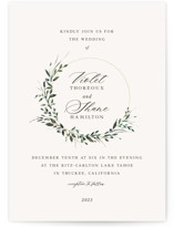 This is a beige wedding invitation by Lori Wemple called Green Wreath with standard printing on signature in standard.