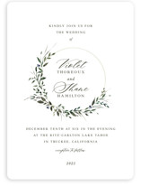 This is a white wedding invitation by Lori Wemple called Green Wreath with standard printing on signature in standard.