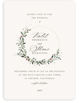 This is a red wedding invitation by Lori Wemple called Green Wreath with standard printing on signature in standard.