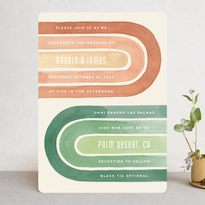 """""""Double Rainbow"""" - Modern Wedding Invitations in Cactus by Pink House Press."""