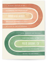 This is a green wedding invitation by Pink House Press called Double Rainbow with standard printing on signature in standard.