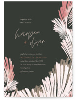 This is a green wedding invitation by Robin Ott called lush romance with standard printing on signature in standard.