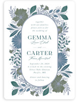 This is a blue wedding invitation by Jen Owens called Flourish with standard printing on signature in standard.