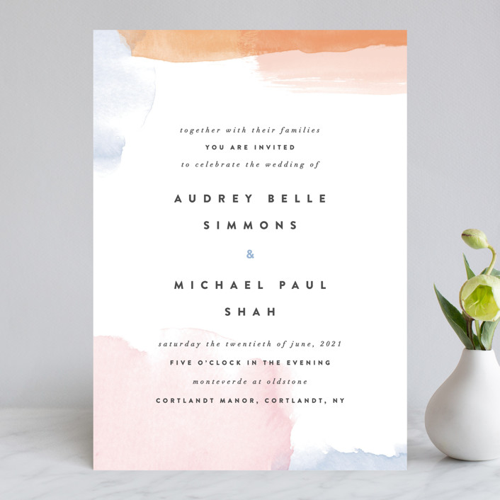 """Watercolor Wisp"" - Modern Wedding Invitations in Blush by Ariel Rutland."