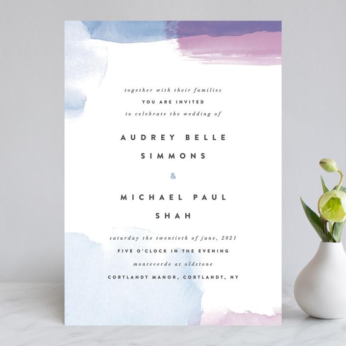"""Watercolor Wisp"" - Modern Wedding Invitations in Blush by Ariel Rutland."