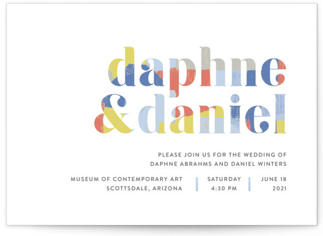 This is a blue wedding invitation by Rebecca Daublin called Modern Muse with standard printing on signature in standard.