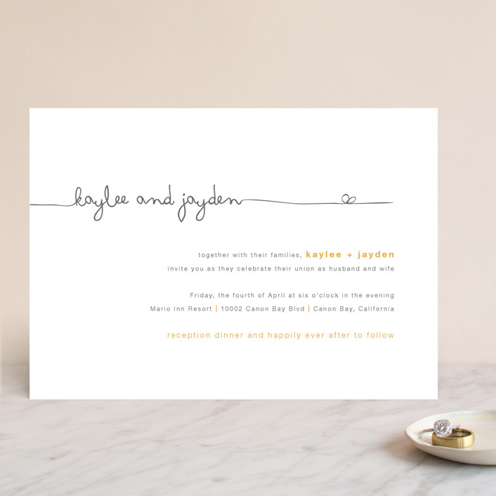 """The Happy Couple"" - Whimsical & Funny Wedding Invitations in Tangerine by R studio."
