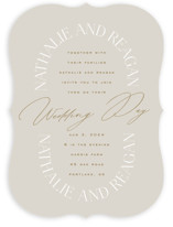 This is a grey wedding invitation by Leah Bisch called Oval with standard printing on signature in standard.