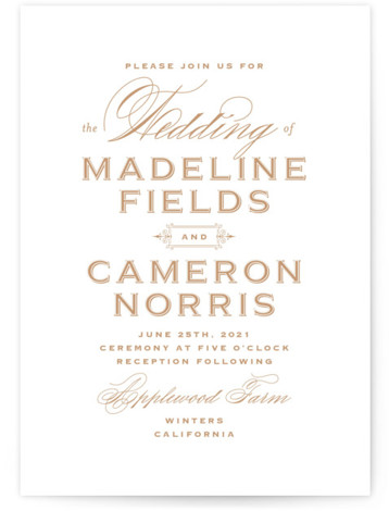 This is a portrait bold and typographic, classic and formal, brown Wedding Invitations by Jill Means called Confection with Standard printing on Signature in Classic Flat Card format. Classic, wine label inspired design with clean type minimal embellishment