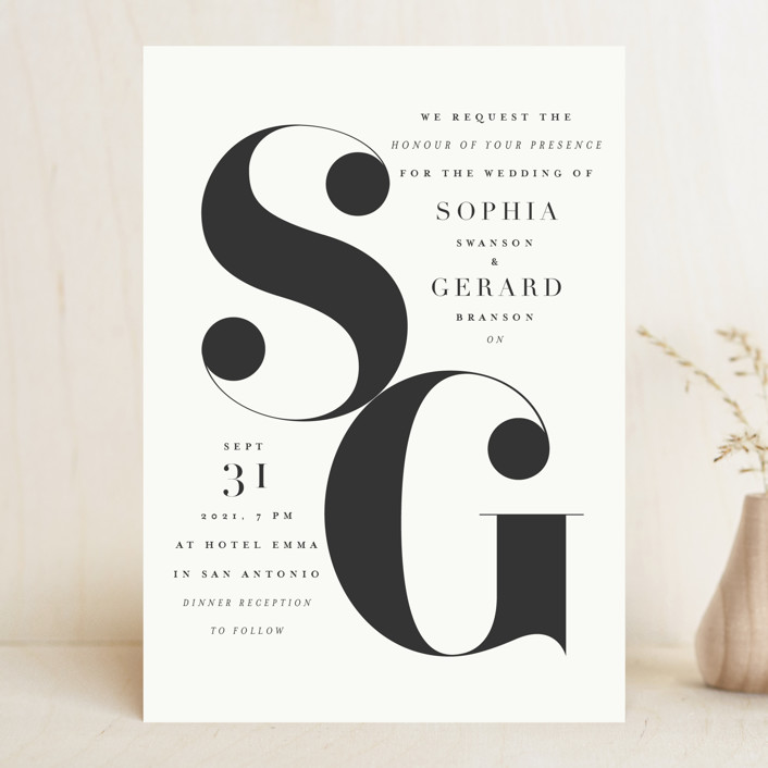 Modern Initials Wedding Invitations by Lori Wemple | Minted