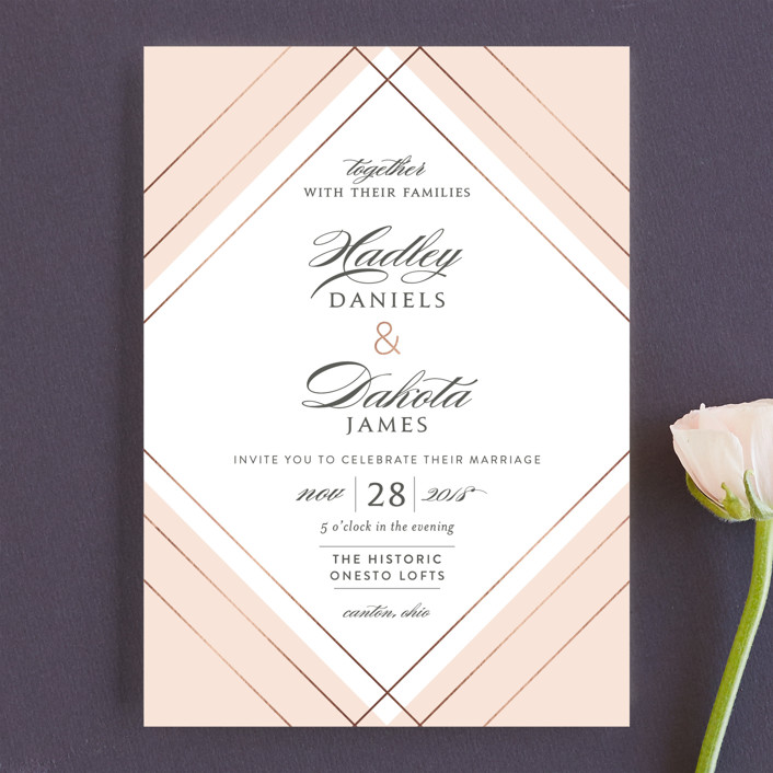 """Elegantly Lined"" - Wedding Invitations in Petal by Robin Ott."
