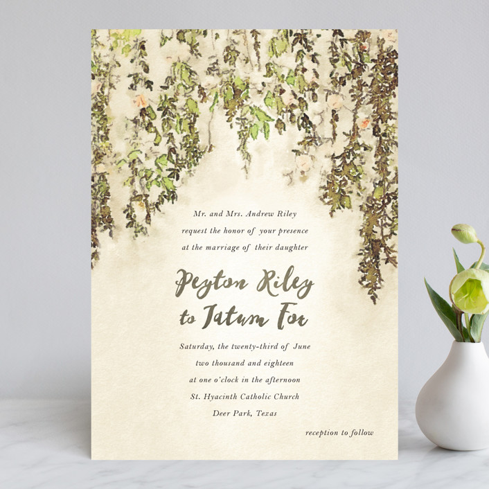 """English Countryside"" - Simple, Rustic Wedding Invitations in Moss by Design Lotus."