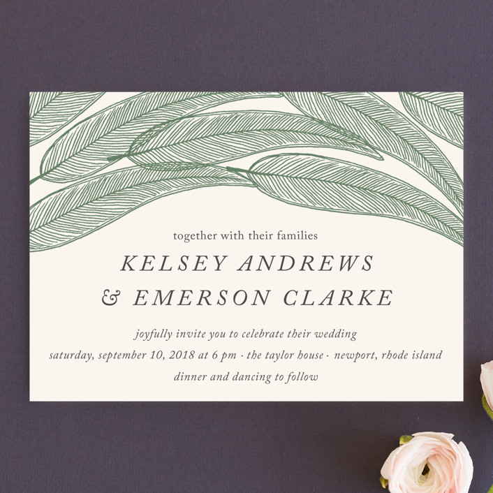 """Sketched Leaves"" - Wedding Invitations in Pine by Katharine Watson."
