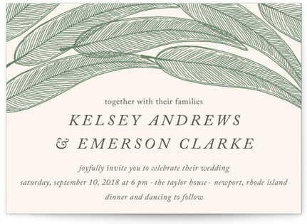 Sketched Leaves Wedding Invitations